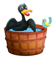 A duck and a bird at the bathtub vector image vector image