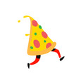 a running slice pizza character for pizzeria vector image