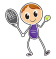 A sketch of a boy playing tennis vector image vector image