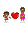 african black boy cartoon with mother and heart vector image vector image