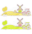 Agribusiness of colorful farm life with natu vector image vector image