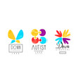 autism and down syndrome bright logo templates set vector image