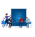 blue-print team working as team on laptop concept vector image