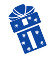 blue xmas gift icon simple style vector image