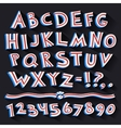Cartoon Retro 3D Font with Strips on Black vector image vector image