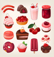 cherry desserts vector image vector image
