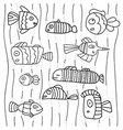 collection of abstract fish on white background vector image