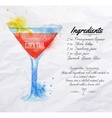 Cosmopolitan cocktails watercolor vector image