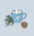 cup hot chocolate with marshmallows vector image vector image