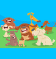 cute dogs cartoon characters group vector image vector image