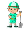 cute hiker boy holding shovel vector image vector image