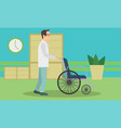 doctor pushing an empty wheelchair full length vector image