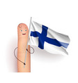 finger with finland flag vector image vector image