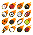 fire flying play sport balls logo icon isolated vector image vector image