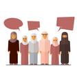 flat arabic women social concept banner vector image vector image