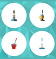 flat icon mop set of mop bucket cleaning and vector image vector image