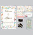 flower wedding card and tag vector image vector image