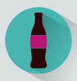 Glass bottle of soda colorful round icon vector image