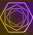 glowing yellow and purple neon hexagons shiny vector image vector image