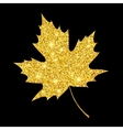 Golden glitter textured fall leaf Autumn gold vector image vector image