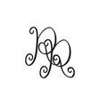 handwritten monogram rr icon vector image