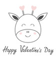 happy valentines day giraffe face head line vector image vector image