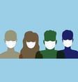 human head with medical masks covid19 19 pandemic vector image