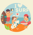 i love surf poster vector image vector image