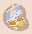 isometric cooking education online professional vector image