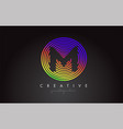m letter logo design with colorful rainbow vector image vector image