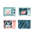 microwave icon set collection microwaves vector image