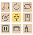 music icons set with tape refresh dj disc and vector image vector image