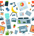office furniture work place with computer vector image