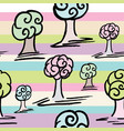 pattern with set of cute trees on abstract line vector image vector image