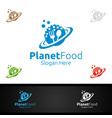 planet food logo for restaurant or cafe vector image vector image