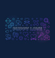 puppy love colored linear banner on dark vector image vector image