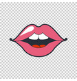 quirky lips patch sticker isolated on vector image vector image