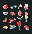 romantic date stickers set fashionable valentines vector image vector image