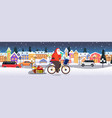 santa claus riding bicycle with gift boxes on vector image vector image