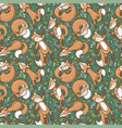 seamless pattern with cute cartoon sleeping fox vector image vector image