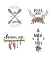 set hand lettered quotes in boho style vector image