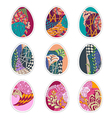 Set of nine Easter eggs with Zentangle ornament vector image