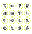 set round icons of robotic industry vector image vector image