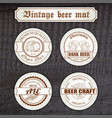 Set vintage hand drawn beer mat with logo on