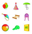 shallow icons set cartoon style vector image vector image