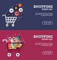 Shopping Everyday Shopping Cart with Goods Set of vector image