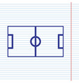 soccer field navy line icon on notebook vector image vector image