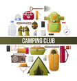 summer camping club camp poster vector image vector image