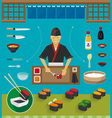 Sushi Chef and Cookware Sets Gunkan Maki Sushi vector image