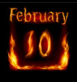 tenth february in calendar of fire icon on black vector image vector image